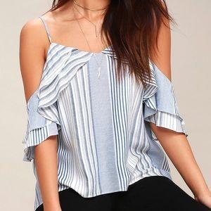 Striped flutter sleeve off the shoulder top